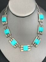 """Vintage 1950's Turquoise  Thermoset Adjustable  Necklace 1950's Hook Clasp 17"""""""
