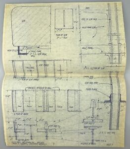 "14""x11"" 1962 Vintage Blueprint Architectural Rendering MID-CENTURY Holiday Inn H"