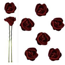 6 épingles pics cheveux chignon mariage mariée danse roses satin rouge bordeaux