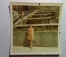 Vintage 70s PHOTO Cute Asian Woman Flower Sun Dress Posing Downtown Waterfall