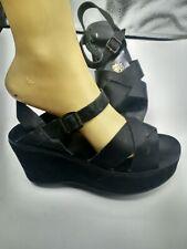 Kork-Ease Wedge Platform Sandals US 7/37 Euro Black Leather
