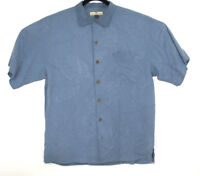 Tommy Bahama Relax Blue 100% Silk Short Sleeve floral print Pocket Shirt  mens M