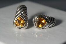 David Yurman 925 Silver 585 Gold Citrine Heart Lrg Shrimp Cable Omega Earrings