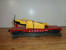 LIONEL O GAUGE # 6800 BLACK AND YELLOW AIRPLANE ON RED FLAT CAR