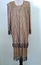 Vintage Onyx Nite 18 20 dress woman plus gold metallic fringe evening occasion