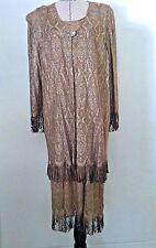 Vintage Onyx Nite 18 20 dress woman plus gold metallic fringe evening occasion