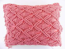 SKY $100 Pink CROCHET 16 X 20 Oblong/Rectangle Decorative Pillow CORAL M05