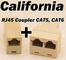 RJ45 CAT5 6 LAN Ethernet Splitter Adapter + Extender Coupler Jointer Plug for PC
