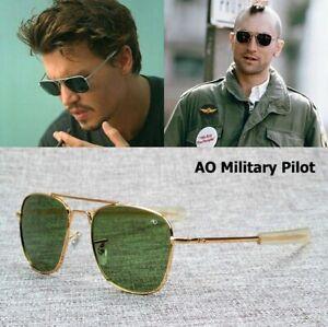 American Fashion Army Military Pilot 54mm Sunglasses Optical Glass Lens Sun Men