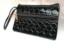 SMALL BLACK SHINY SCALES SNAKE STYLE COIN MONEY PURSE 2 ZIPS WRIST STRAP WALLET