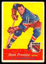 1957 58 TOPPS HOCKEY #62 DEAN PRENTICE VG-EX N Y NEW YORK RANGERS CARD