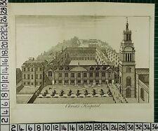 c1750 LARGE ANTIQUE LONDON PRINT ~ CHRIST'S HOSPITAL
