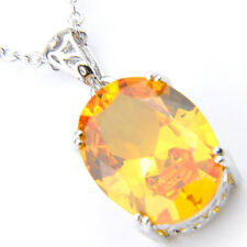 Sparking Oval Fire Royal Citrine Cubic Zirconia Silver Gems Pendants Necklaces