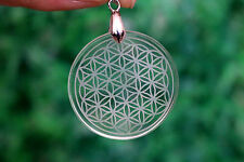 35mm(13~15g) Natural Clear Quartz Crystal Flower of Life Pendant Carving  #201