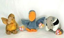 Lot of Retired TY Beanie Babies Ants ( 1997) Scoop (1996) Beak (1998) w/ Tags