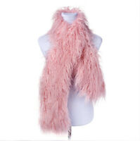 "160cm(63"")long winter warm lamb mongolian fur one side fur shawl scarf"