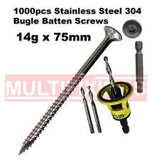 1000pcs - 14g x 75mm Stainless 304 Bugle Head Screws + Macsim Clever Tool