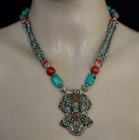 Asian  Hndmade Tribal Sterling Silver Necklace Turquoise Tibetan  jewelry 7E