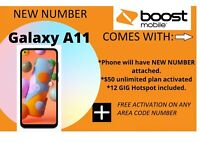 Samsung Galaxy A11 - 32GB Boost Mobile NEW. FREE 1ST MONTH PAYMENT. NEW NUMBER!