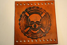 Custom Heavy Duty Light Brown Leather Motorcycle Grip Covers Skull & Chain