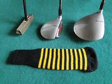 Knitted zebra style Fairway & Driver Golf Club head cover Black / Gold