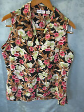 NWT Claudia Richard Sleeveless Top Size Medium Pretty Floral Print Blouse