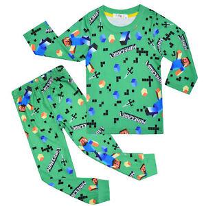 Set Kinder Jungen Langarm Schlafanzug Weihnachten  Nachtwäsche T-Shirt und Hose