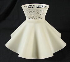 Vintage Off White Plastic Ruffle Shade with Bulb Loops