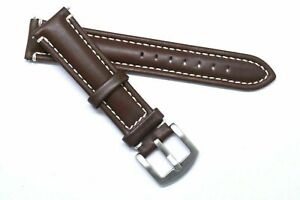 20mm Brown Leather White Stitching Padded Watch Band Silver, Gold, Black Buckle