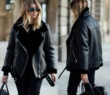 ZARA BLACK FAUX LEATHER SHEARLING FUR DOUBLE FACED BIKER JACKET AVIATOR COAT NEW