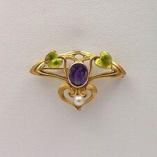 Art Nouveau 14k Gold Deep Purple Amethyst Pearl Iridescent Enamel Brooch Pin