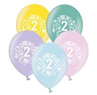 "number 2 - stars & swirls -  12""  Pastel Assortment Latex Balloons pack of 5"