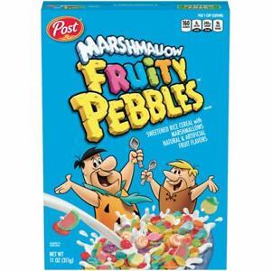 Post MARSHMALLOW FRUITY PEBBLES 11 oz. Sweetened Rice Cereal Flintstones BB 3/22