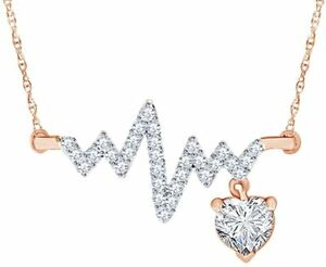 Simulated Birthstone Heartbeat Pendant Necklace 14k Rose Gold Over Silver 925