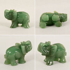1pc Lucky Elephant Natural Jade Stone Carved Statue Home Craft Decor Ornaments