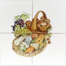 Küchenfliesen 15x15 mit Pilzkorb, Fliesen mit Küchenmotiv, Dekor