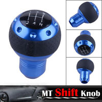 Blue 5 Speed Car Truck Gear Shift Knob MT Leather Shifter Lever Stick Universal