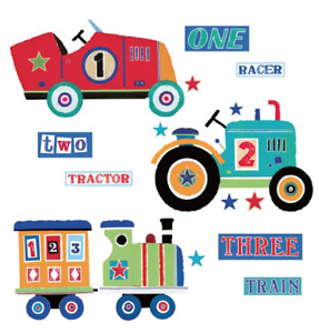 RoomMates Repositionable Childrens Wall Stickers Transport Tractor Train Car XL