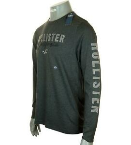 New Men's Authentic Hollister Long Sleeve Embroidered Logo T Shirt M L XL Black