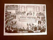 Bella e rara incisione del 1876 Roma Il Senato d'Italia Seduta del 26 gluglio 76