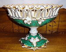 Antique Old Paris Porcelain Centerpiece Bowl / Compote - One Leaf Broken