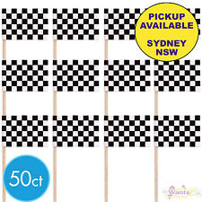 RACING CHEQUERED FLAG PICKS CARS PARTY 50 CUPCAKE CAKE TOPPERS FOOD TOOTHPICKS
