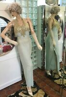 Vintage Cassandra Stone Hand Beaded Sequined Celadon Silk Evening Gown Size 6