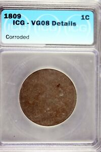 1809 - ICG VG08 DETAILS Classic Head Large Cent! #HD0255