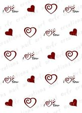 20 Nail Decals VALENTINE I HEART YOU Water Slide Nail Art Decals Asstortment