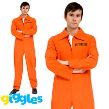 Mens Prisoner Costume Burglar Striped Convict Stag Do Party Fancy Dress Outfit