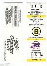 Winnipeg Jets Last Game at Boston Garden NHL Hockey Bruins Unused Ticket