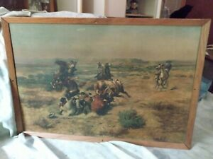 Original 1901 C. M. Russell framed Cowboy Print 24 x 16 inches