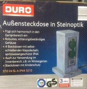 Duro Außensteckdose in Steinoptik Gartensteckdose Dämmerungssensor IP44  Säule