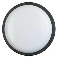 LED Indoor Outdoor Ceiling Wall Round Bulkhead Porch Bathroom Light IP65 - Black
